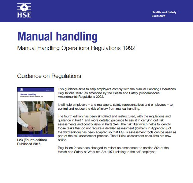 identify the regulations covering manual handling They identify the responsibilities of employers  approved codes of practice concerning the relevant regulations, manual handling, lifting and the use of equipment.